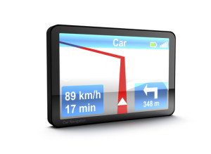 GPS car navigation device isolated on white